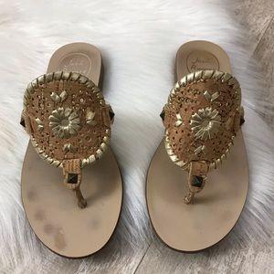 Jack Rogers Georgica Cork Gold Thong Sandal